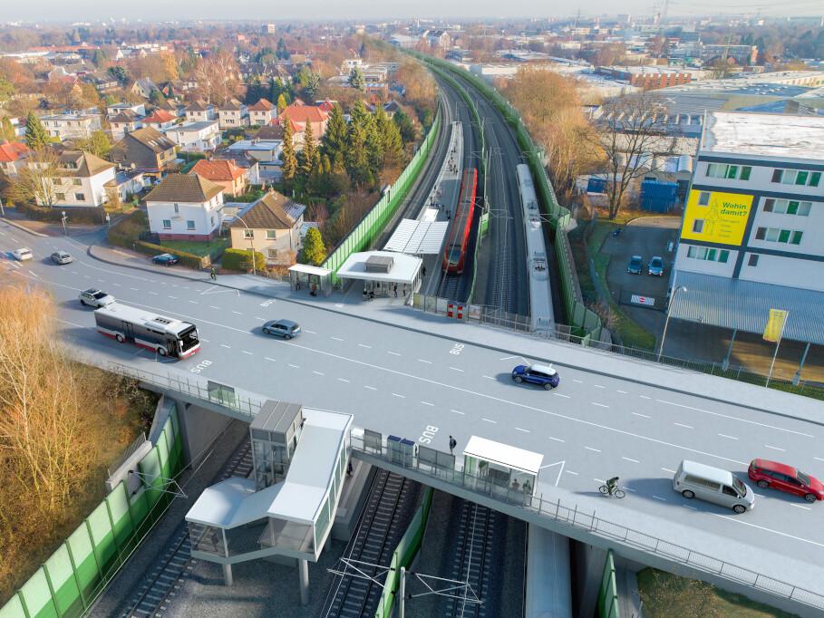 Die neue Station Holstenhofweg in Blickrichtung Osten.