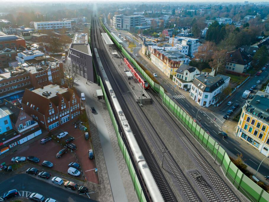 Die Station Rahlstedt in Blickrichtung Südwesten.