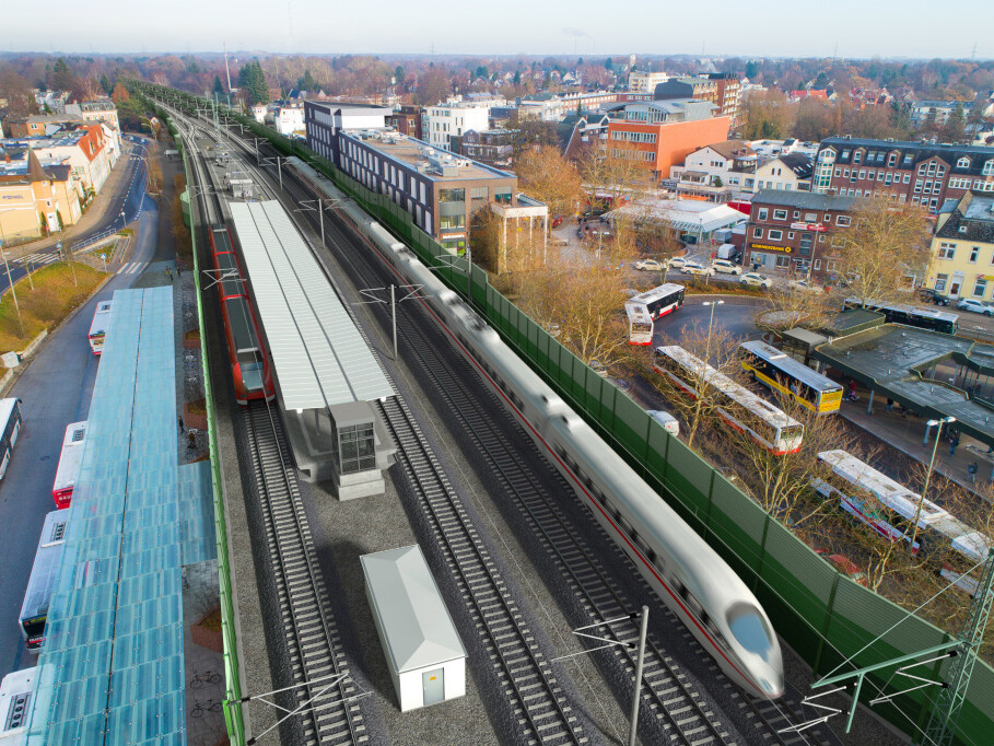 So könnte die Station Rahlstedt nach dem Umbau aussehen (in Blickrichtung Nordosten).