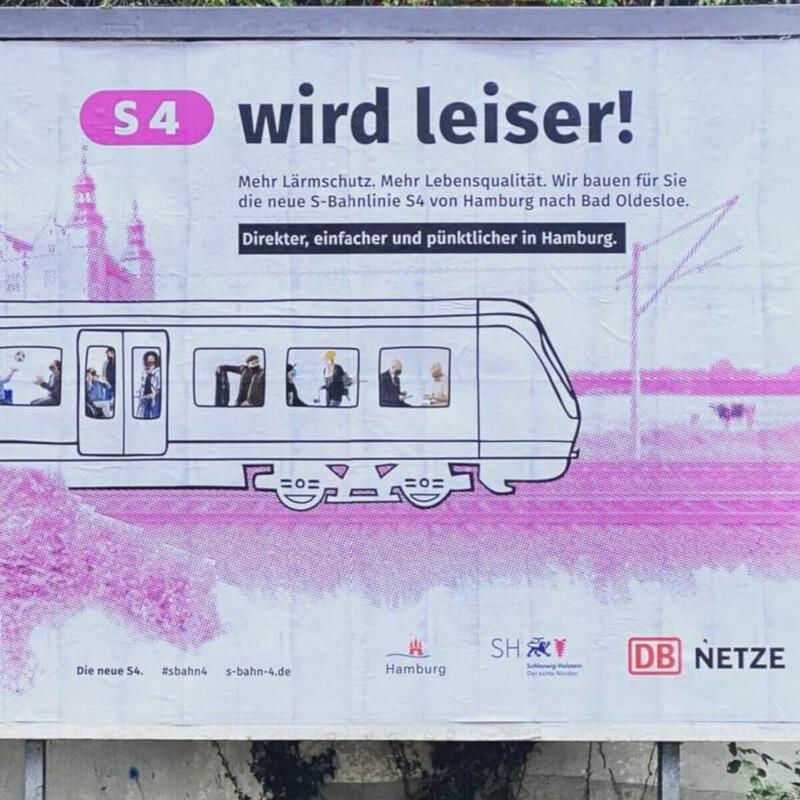 S4 Pinke Plakate in der Stadt