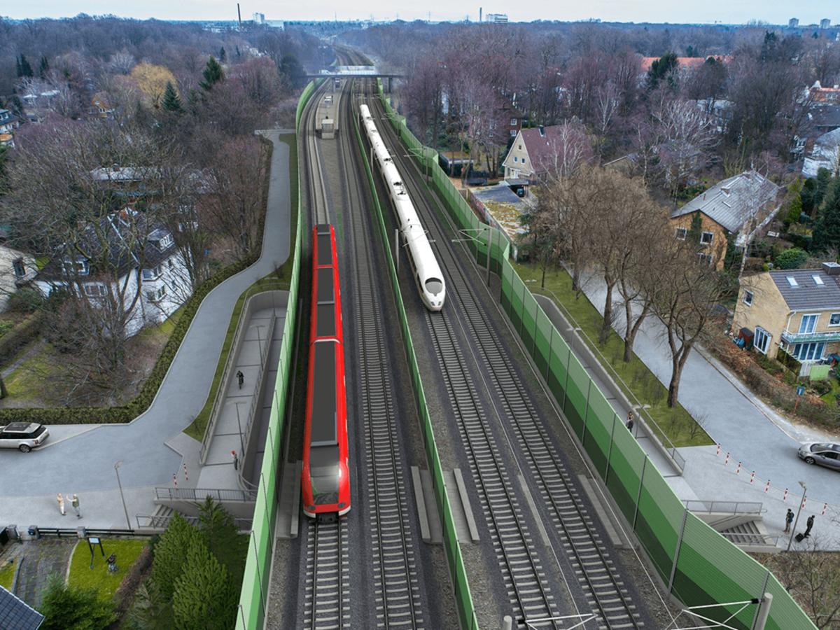 Blick auf die neue Station aus der Ferne.