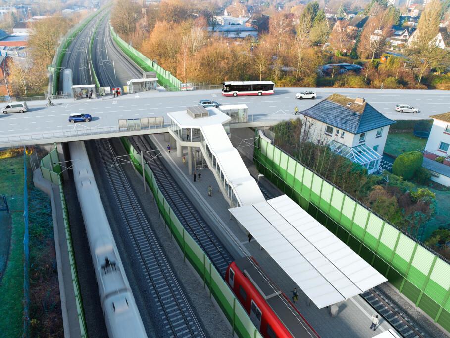 Die neue Station Holstenhofweg in Blickrichtung Westen.
