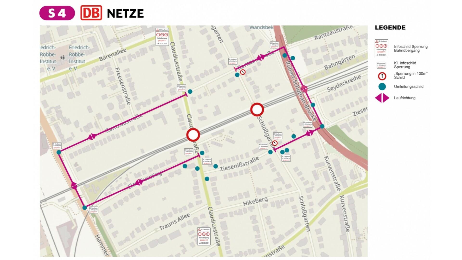 Umleitungskarte Claudiusstraße, Schloßgarten
